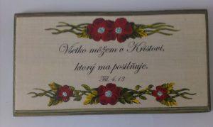 Ručne maľované drevené tabuľky - Všetko môžem v Kristovi...
